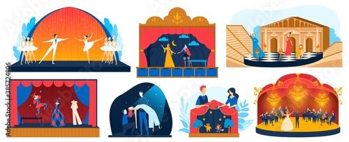 Obraz na płótnie Theater performance vector illustration set