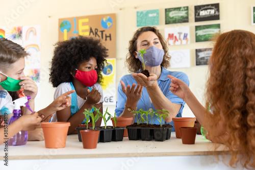 Obraz na plátně Female teacher wearing face mask showing plant pots to students in class