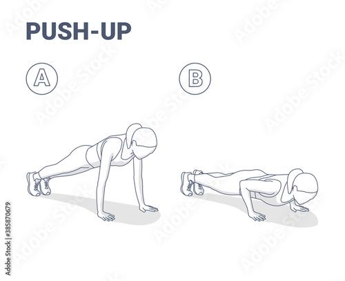 Fotografija Push-Ups Home Workout Exercise Woman Silhouette Guidance Illustration