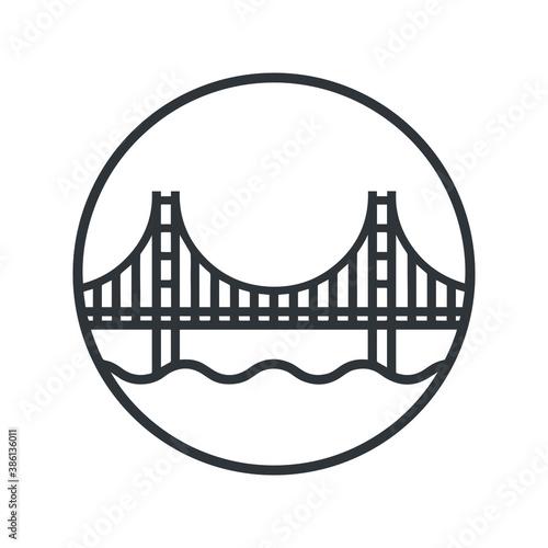 Wallpaper Mural Golden Gate Bridge Icon stock illustration