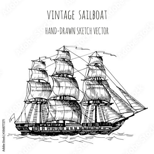 Canvas-taulu Old caravel, vintage sailboat
