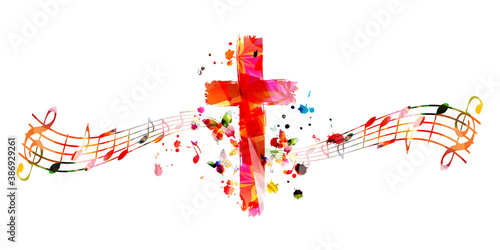 Fotografie, Obraz Colorful christian cross with music notes isolated vector illustration