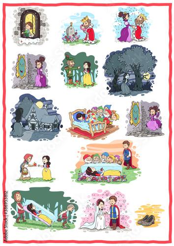 Canvas Print Schneewittchen und die sieben Zwerge - Vektor-Illustration