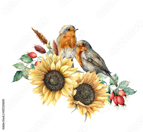 Wallpaper Mural Watercolor autumn bouquet with redbreasts, sunflowers, berries, leaves and dogroses
