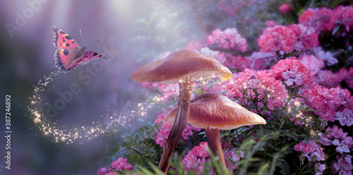 Carta da parati Fantasy Magical Mushrooms and Butterfly in enchanted Fairy Tale dreamy elf Fores