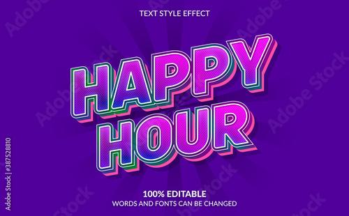 Fotografie, Tablou Editable Text Effect, Happy Hour Text Style