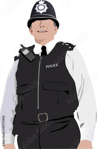 Stampa su Tela London Policeman with walkie-talkie radio. Vector 3d illustration