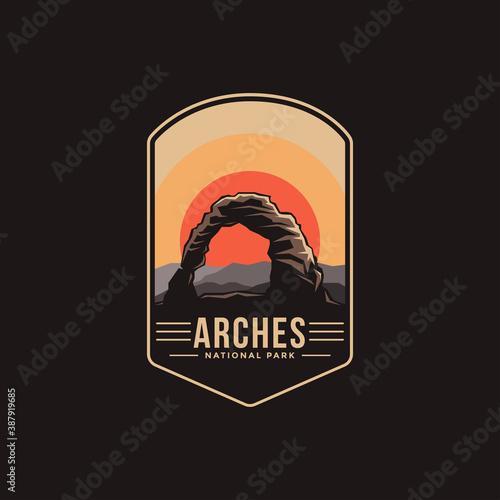 Canvas Print Emblem patch logo illustration of Arches National Park on dark background