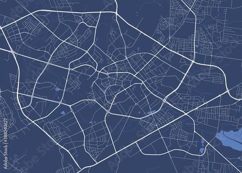 Obraz na plátně Detailed map of Bialystok city, linear print map