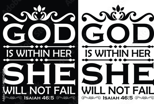 Fotografie, Tablou God is within her she will not fail-Christian cross with Bible verse, Christian