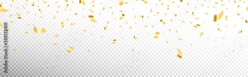 Canvas Print Gold confetti on transparent backdrop