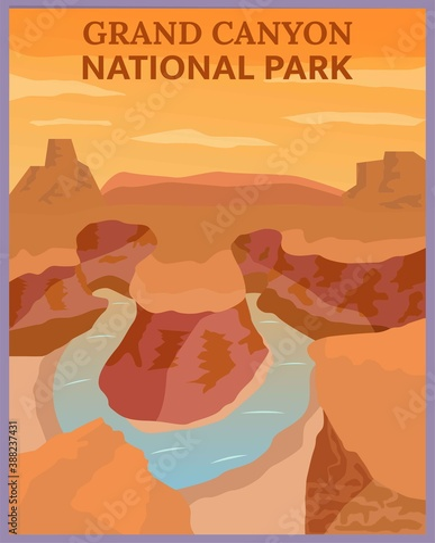 Fototapeta Illustration vector design of retro and vintage travel poster of grand canyon, Arizona