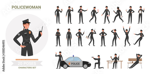 Fotografia Police officer woman poses vector illustration set