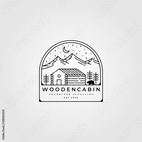 wooden cabin line art logo vector illustration design, outdoor minimalist logo d Fototapeta