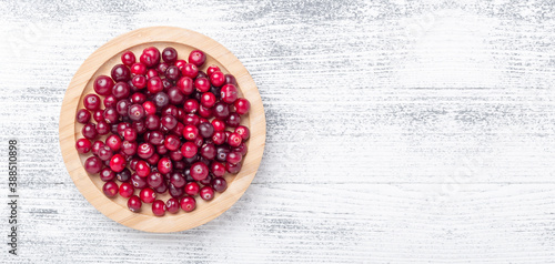 Fotografie, Obraz Horizontal banner with raw fresh cranberries in wooden bowl on light wood background