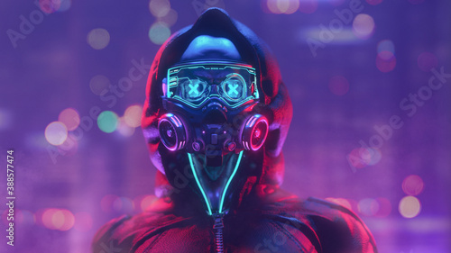Fashion cyberpunk girl in leather hoodie jacket wears gas mask with protective glasses, filters. Colorful 3d render of human skull with cross in eyes, glowing green wires on night light bokeh in city.