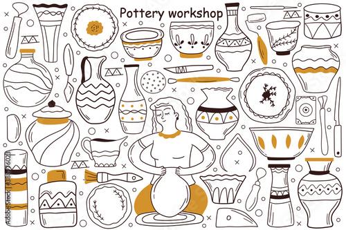 Stampa su Tela Pottery workshop doodle set