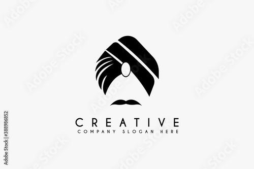 Photo Turban Mustache India Indian logo design vector illustration