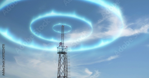 Photo Modern high antenna evolving signal waves