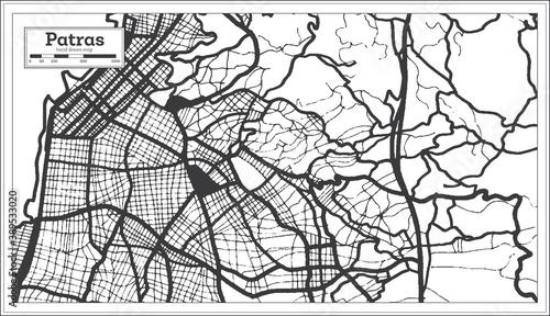 Fotografie, Obraz Patras Greece City Map in Black and White Color in Retro Style
