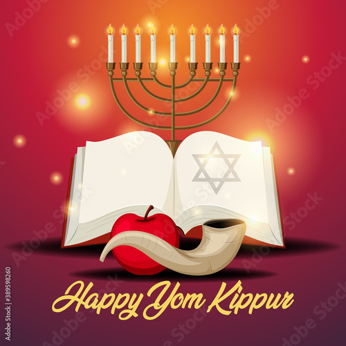 Yom Kippur logo greeting card template or background with shofar Fototapeta