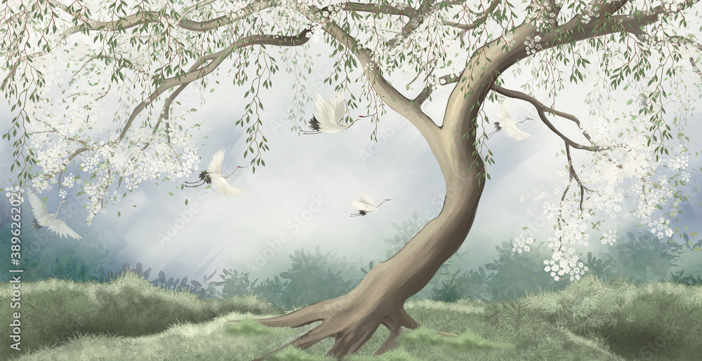 A tree in the fog with a crane flying. For interior printing.