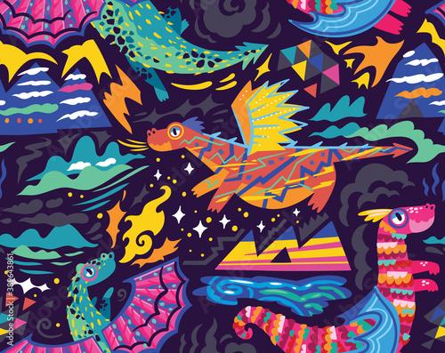 Fototapeta Fairy dragons seamless pattern