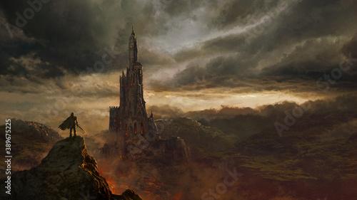 Fototapeta premium Fantasy castle landscape - digital illustration