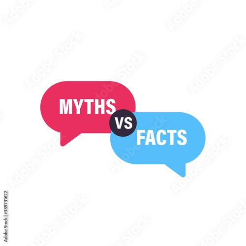 Photo Myths vs Facts speech bubble concept design. Clipart image.