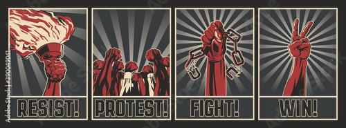 Stampa su Tela Resist! Protest! Fight! Win!  Retro Style Propaganda Posters, Resistance and Reb