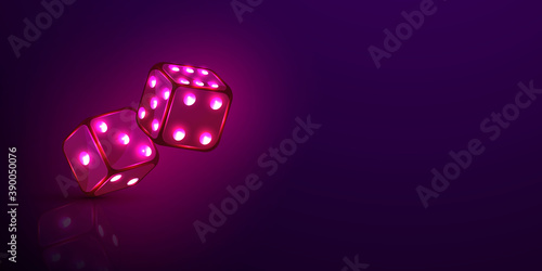 Fotomural dice casino chips flying realistic tokens for gambling, cash for roulette or pok