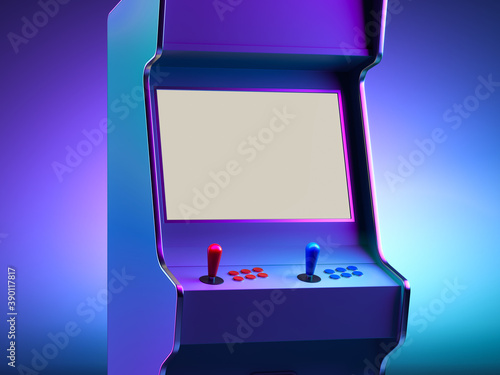 Fotomural Retro Arcade Machine With Blank Screen Illuminated By Neon Violet Light