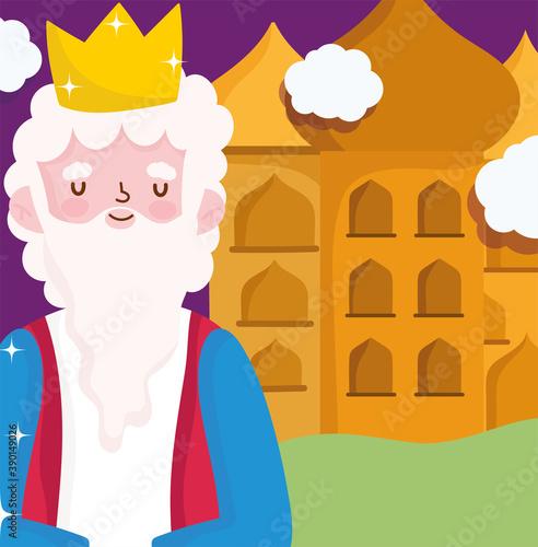 Vászonkép nativity, manger caspar wise king cartoon