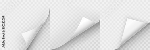 Fotografie, Obraz Realistic curled paper corners set