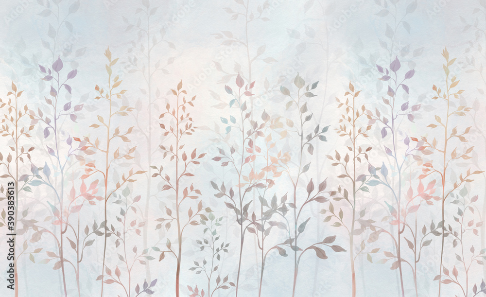 Watercolor field grass. Hand-drawn plants. For interior printing, mural art.