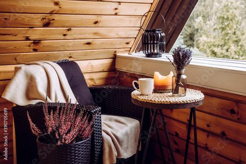 Obraz na płótnie Cute autumn hygge home decor arrangement