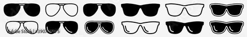 Fotografía Sunglasses Icon Set | Sunglasses Vector Illustration Logo | Dark Glasses Icons I
