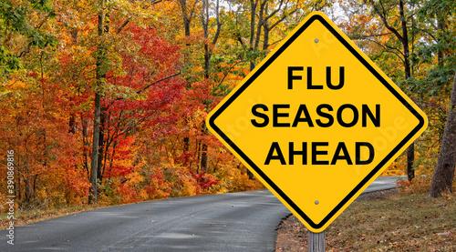 Fotografia, Obraz Flu Season Ahead Warning Sign