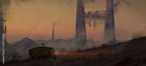 Tablou Canvas Digital painting of workers and heavy equipment mining on an alien planet - scie