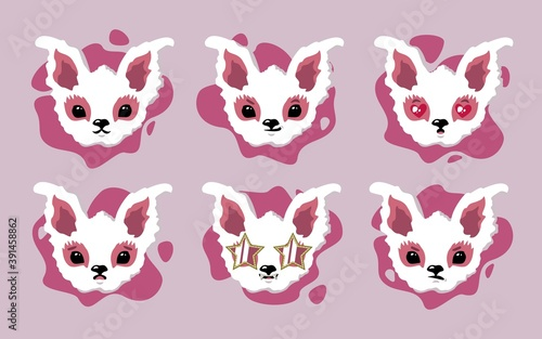 Cute animal with different emotions. Set with different kawaii emotions. Funny stickers and icons