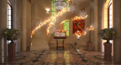 Fotografia, Obraz Interior of a cathedral, duomo, church on fire, 3d rendering, 3d illustration