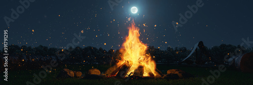 Tablou Canvas 3d rendering of big bonfire with sparks and particles in front of forest and moo