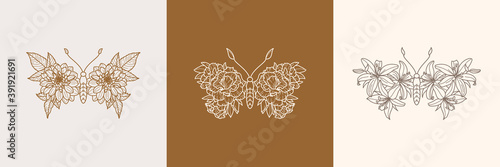 Fotografia Set of Floral Butterfly icon in a Linear Minimalist trendy style