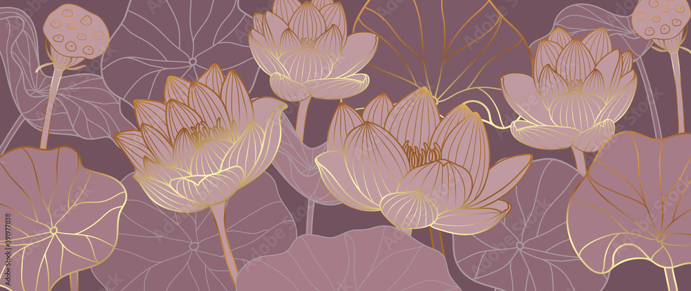 Luxurious background design with golden lotus. Lotus flowers line arts design for wallpaper, natural wall arts, banner, prints, invitation and packaging design. vector illustration.