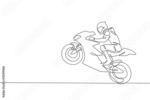 Photo One single line drawing of young moto racer jumping his motorcycle to celebrate winning vector illustration