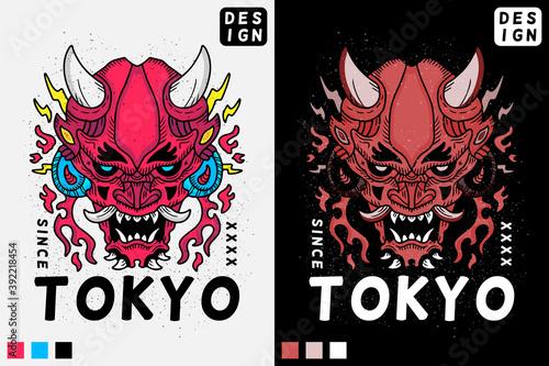 Fotografia Japanese Devil head in hype style