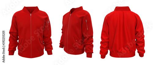 Billede på lærred Red bomber jacket mockup in front, back and side views, design presentation for