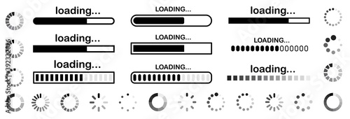 Fototapeta Set of vector loading icons
