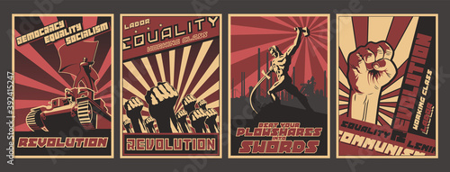 Fotografia Retro Soviet Revolution Propaganda Style Posters, Socialism and Working Class Il
