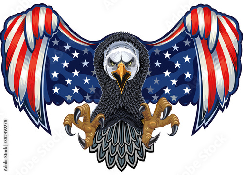 Leinwand Poster American eagle with USA flags